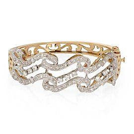 66469 Estate 2.4ct Diamond 14k Two Tone Gold Scroll Design Fancy Bracelet