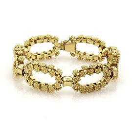 Gorgeous 18k Yellow Gold Oval Rosette Link Chain Bracelet