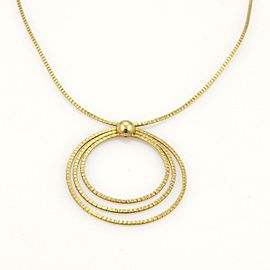 Estate 18k Yellow Gold Fancy Hand Hammered Triple Circle Pendant Necklace