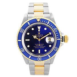 Rolex Submariner 40mm 18k Gold Steel Blue Dial Automatic mens Watch 16613