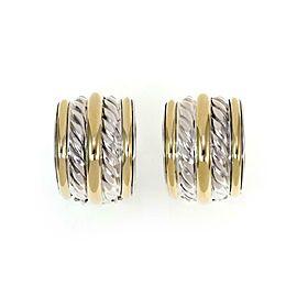 David Yurman 925 Silver 18k Yellow Gold 15mm Wide Oval Clip On Earrings