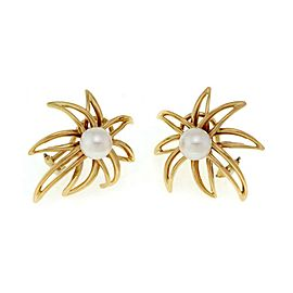 Tiffany & Co. 1994 Fireworks Pearls 18k Yellow Gold Post Clip Earrings