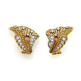 Cartier Rare 1940's Diamond 18k Yellow Gold Platinum Floral Clip On Earrings