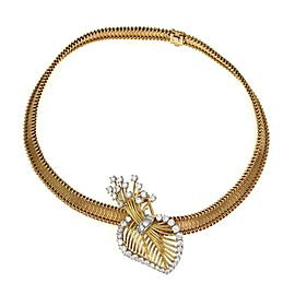 Cartier Rare 1940's 4.00ct Diamond 18k Gold Platinum Pendant Necklace