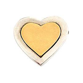 Tiffany & Co. Vintage 18k Yellow Gold 925 Silver Heart Mirror Brooch