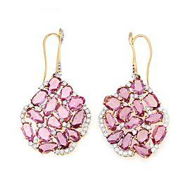 Casato 22.00ct Pink Sapphire Diamond 18k Rose White Gold Hook Drop Earrings