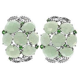 18K White Gold Black Rhodium Aventurine & Green Emerald Huggie Earrings