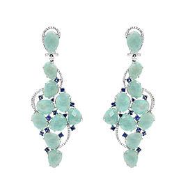 18K White Gold Amazonite Blue Sapphire & Diamonds Drop Earrings
