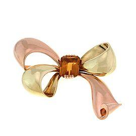 Retro Tiffany & Co. Citrine 18k Pink & Yellow Gold Large Ribbon Bow Brooch
