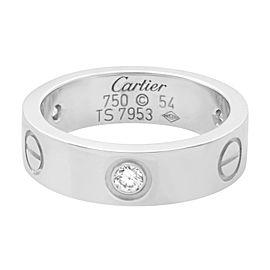 Cartier 18K White Gold 3 Diamond Love Ring Size 54 US 6.75