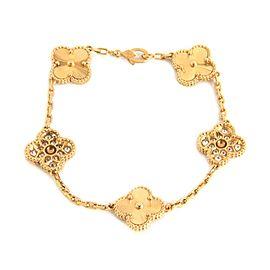 Van Cleef & Arpels Vintage Alhambra Diamond 5 Motifs 18k Gold Bracelet Cert
