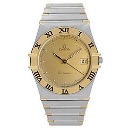 Omega Constellation 32mm 18K Yellow Gold Steel Mens Quartz Watch 396.1070.1