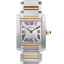 Cartier Tank Francaise Steel 18k Gold Pink MOP Dial Ladies Quartz Watch W51027Q4