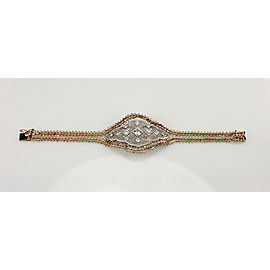 Art Deco Platinum & 14K Yellow Gold Diamond Filigree Bracelet