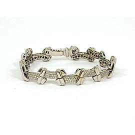 Stunning 2 Carats Diamond 18k White Gold Fancy Link Bracelet