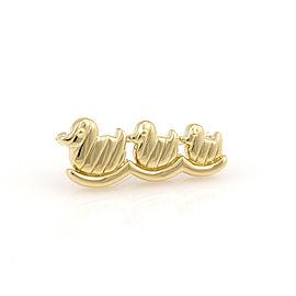 Tiffany & Co 18K Yellow Gold Three Ducks In A Row Pin / Brooch