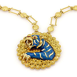 Estate 18K Yellow Gold Italian Large Ruby & Enamel Tiger Pendant Necklace
