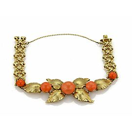Vintage 14k Yellow Gold & Coral Floral Design Fancy Chain Bracelet