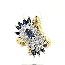 Estate 3.30ct Diamond & Sapphire 18k Two Tone Gold Cluster Ring Size 6