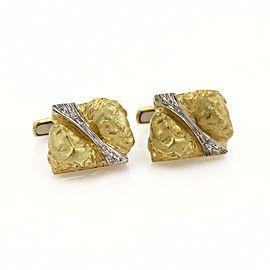 Vintage Diamond 18k Two Tone Gold Double Face Stud Cufflinks