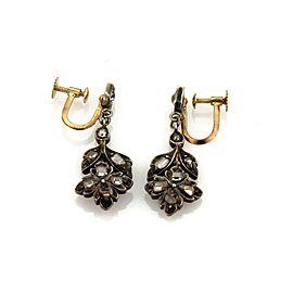 Edwardian Rose Cut Diamond 18k Gold & Silver Floral Screw Back Dangle Earrings