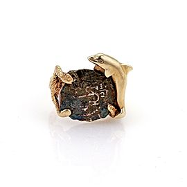 Antique Style Silver Coin 14k Yellow Gold Dolphin Textured Ring Size 4.5