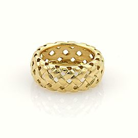 Tiffany & Co. Vannerie 18k Yellow Gold 9mm Basket Weave Band Ring Size 5.5