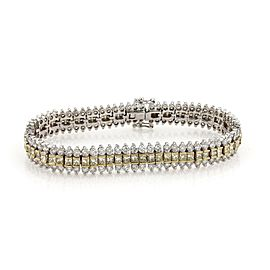 Estate 14ct Yellow & White Diamond 18k Two Tone Gold 3 Row Tennis Bracelet