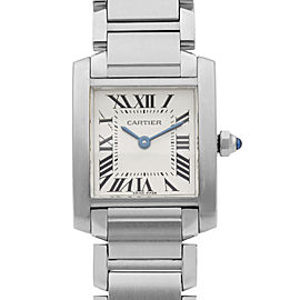 Cartier Tank Francaise Stainless Steel White Roman Dial Ladies Watch W51008Q3