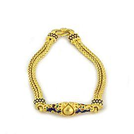 22k Yellow Gold Multicolor Enamel Fancy Charm Double Weave Link Bracelet