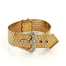 Stunning Diamonds 18k Two Tone Gold Octagon Link Belt & Buckle Bracelet