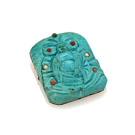 Vintage Genuine Carved Turquoise Buddha 14k Yellow Gold Brooch Pendant