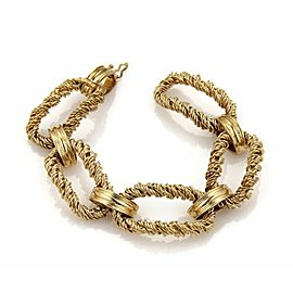Vintage 14k Yellow Gold Twisted Wire Wrap Large Oval Link Bracelet 63 Grams