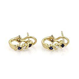 Tiffany & Co. Diamond & Sapphire 18k Yellow Gold Fancy Post Clip Earrings