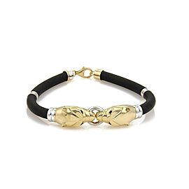 RCI 18k Two Tone Gold & Sapphire Double Panther Head Rubber Cord Bracelet