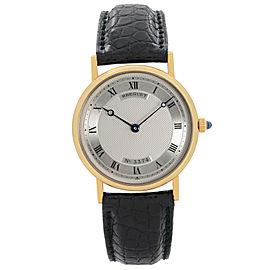 Breguet Classique 33 mm 18k Yellow Gold Silver Dial Mens Hand-wind Watch 3500