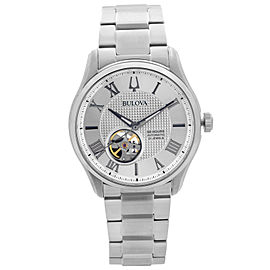 Bulova Wilton Stainless Steel Silver Roman Dial Automatic Mens Watch 96A207