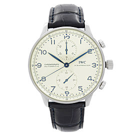 IWC Portugieser 41mm Steel Chronograph Silver Dial Automatic Men Watch IW371605