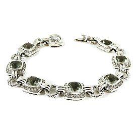 David Yurman Linked Renaissance Sterling Silver Prasiolite, Diamond Bracelet