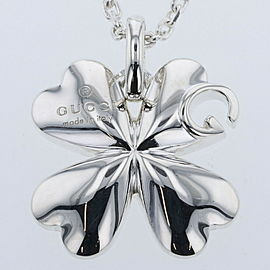 GUCCI G logo clover 925 Silver Necklace TBRK-261