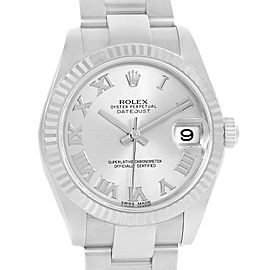 Rolex Datejust Midsize Steel White Gold Silver Roman Dial Watch 178274