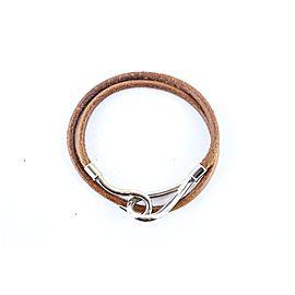 Vintage Hermes Silver Tone Hardware Leather Bracelet
