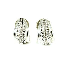 David Yurman Bamboo Sterling Silver Diamond Earrings