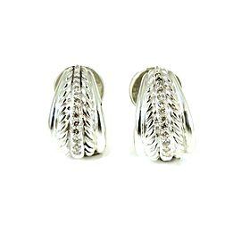 David Yurman Bamboo Sterling Silver Diamond Earrings