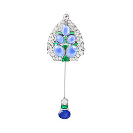 Cartier Vintage Platinum Diamond Emerald and Sapphire Brooch