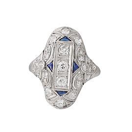 Platinum Vintage Style Diamond and Sapphire Ring