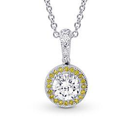 Leibish 18K White and Yellow Gold with 0.68ctw White and Yellow Diamond Milgrain Halo Pendant Necklace