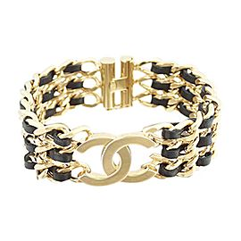 Chanel Gold Tone and Black Leather CC Logo Vintage Bracelet