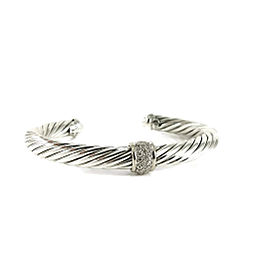 David Yurman 18k White Gold, Sterling Silver Pave Diamond Cable Classics Bracelet