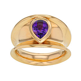 Chopard 18K Yellow Gold Amethyst Cocktail Ring Size 7